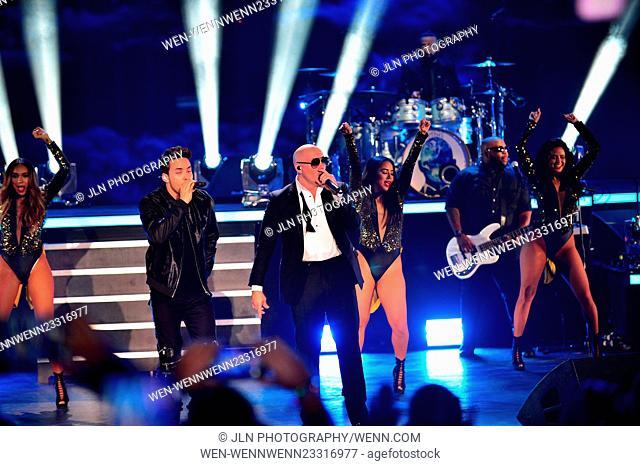 Pitbull's New Year's Revolution 2016 at Bayfront Park Amphitheater Featuring: Prince Royce, Pitbull Where: Miami, Florida