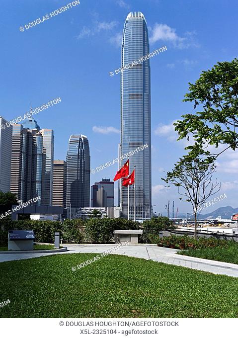 CENTRAL HONG KONG Tamar park IFC 2 tower Chinese flag and Hong