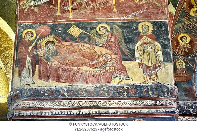 Pictures & images of the interior medieval frescoes depicting the Asumption of the Virgin. The Eastern Orthodox Georgian Svetitskhoveli Cathedral (Cathedral of...