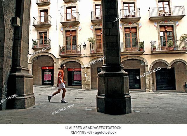 arches, square, Solsona, Catalonia, Spain
