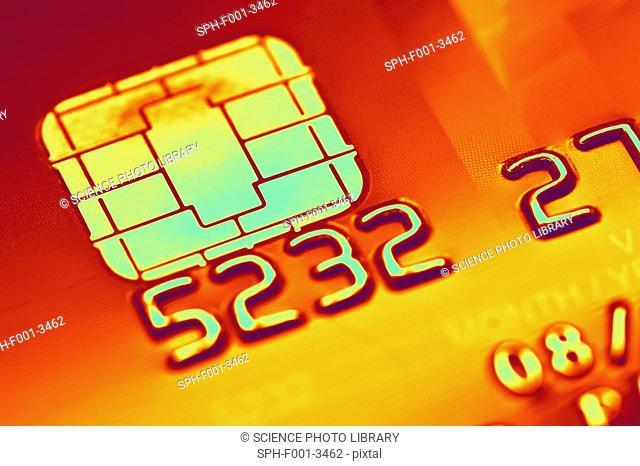 Credit card microchip, computer artwork