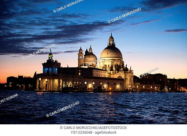 Santa Maria della Salute church at dusk, Grand Canal, Venice, Italy, Europe