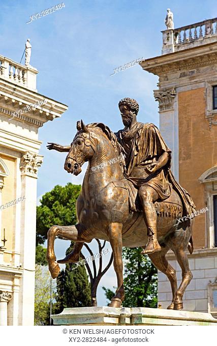 Rome, Italy. Piazza del Campidoglio, with copy of equestrian statue of Marcus Aurelius. The original is displayed in the Capitoline Museum