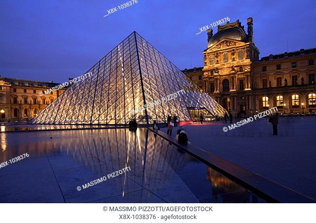 The Pyramid of the Louvre palace, Paris, France