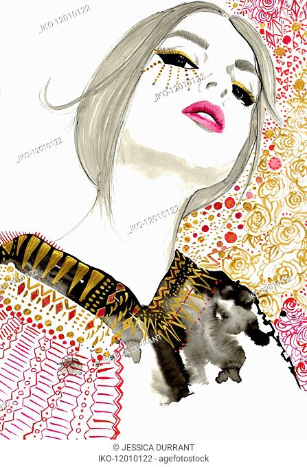 Fashion illustration of woman wearing ornate makeup and patterned blouse looking down nose