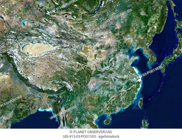 China, True Colour Satellite Image. People's Republic of China, true colour satellite image. This image was compiled from data acquired by LANDSAT 5 & 7...