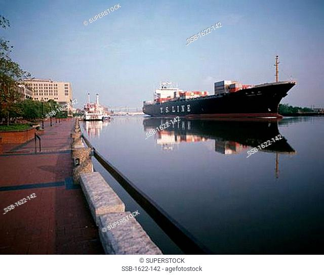 Reflection of a container ship in water, Savannah, Georgia, USA