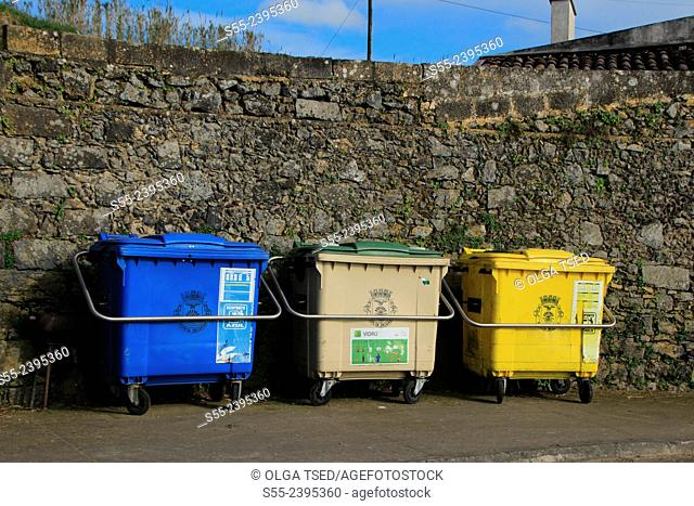 Recycling containers for paper and glass and plastic. Ponta Delgada, Sao Miguel island, Azores, Portugal