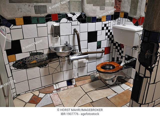 Public toilets, designed by Friedensreich Hundertwasser, interior view, the artist's last work, Kawakawa, Highway 1, North Island, New Zealand