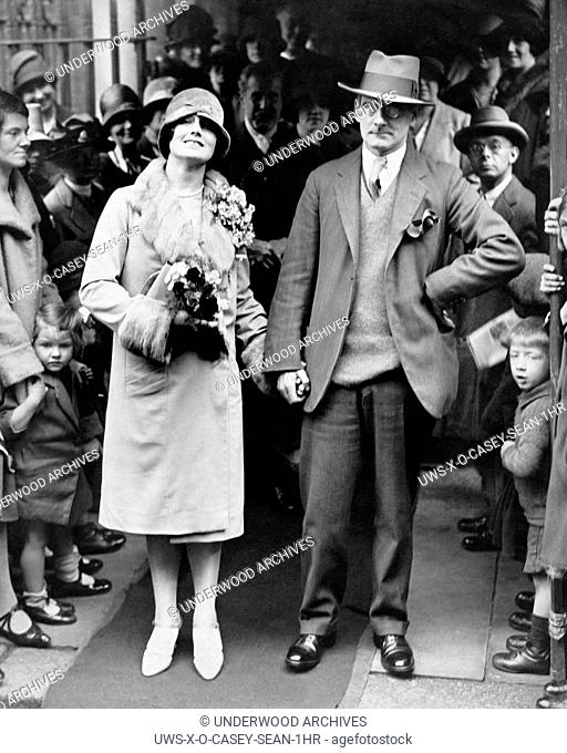 London, England: 1927. Irish playwright Sean O'Casey after his wedding to Eileen Carey at the Church of All Souls in Chelsea