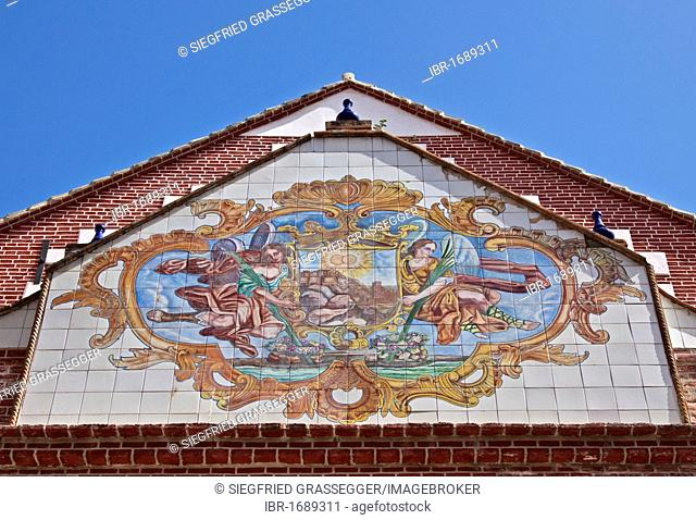 Tile mural on the Iglesia de los Martires or Church of Martyrs, Malaga, Andalusia, Spain, Europe