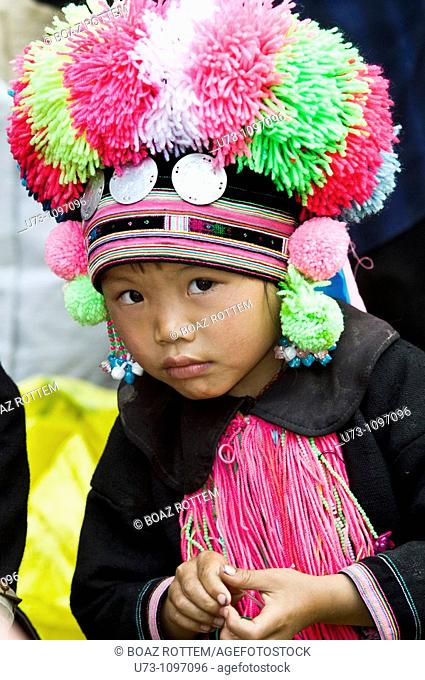 Beautiful and Shy. a cute little Yao girl