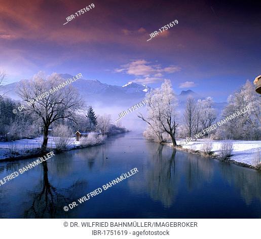 Lake Kochelsee below Mt. Herzogstand, Upper Bavaria, Germany, Europe