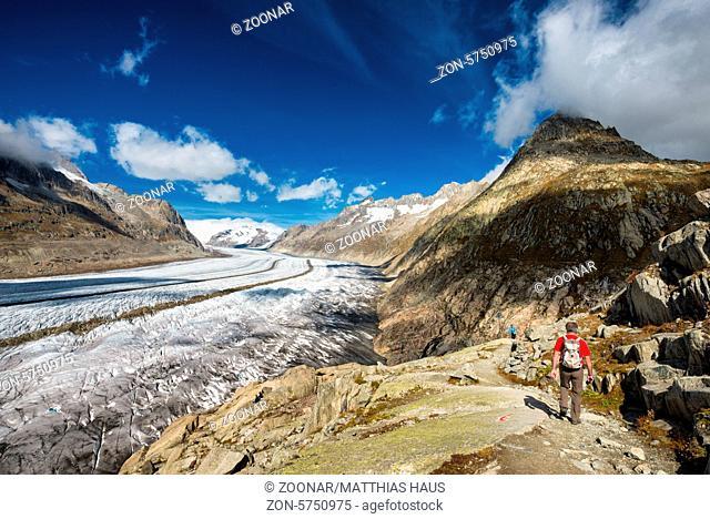 Hiking in Switzerland Aletsch Glacier