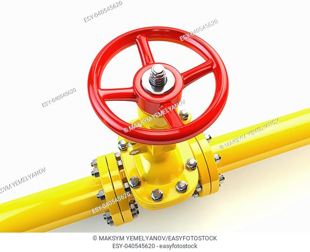 Yellow gas pipe line valves isolated on white. Fuel and energy industrial supply concept. 3d illustration