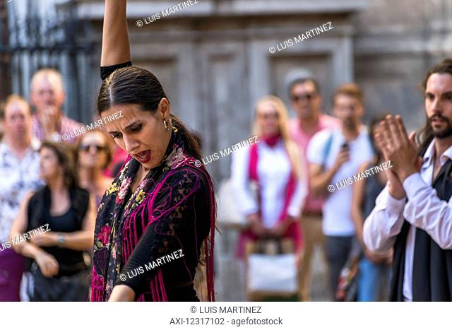Street flamenco dancers in Alonso Cano Square; Granada, Andalucia, Spain