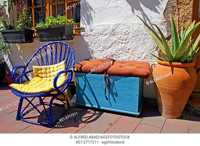 Terrace, Sa Tuna, Begur, Girona, Catalonia, Spain