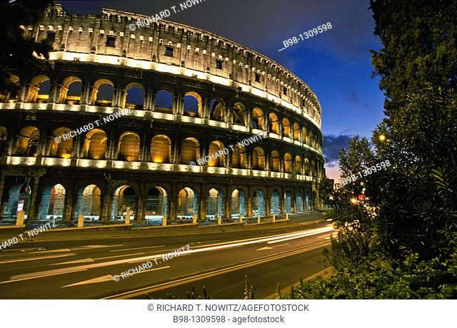 Rome Italy, Colosseum at dusk