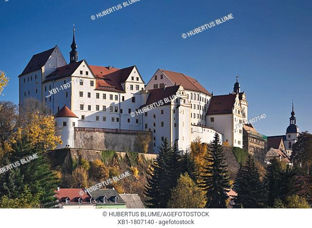 In 1046, first documented Colditz Castle near Leipzig, Saxony, Germany, Europe fortification, fortress, stronghold, well-fortified