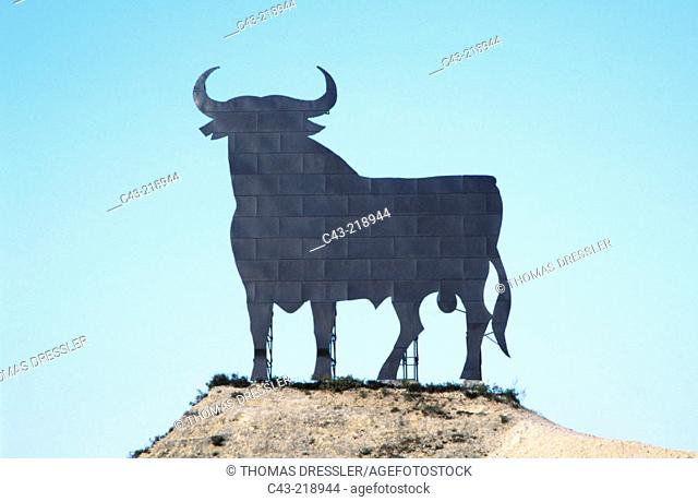 Bull silhouette, typical advertising of Spanish brandy Osborne. Andalusia. Spain