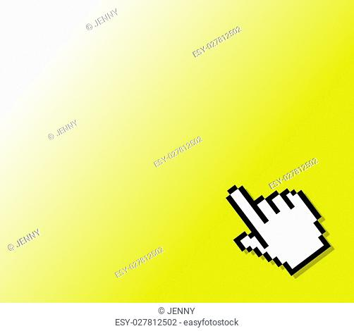 hand cursor on a yellow background
