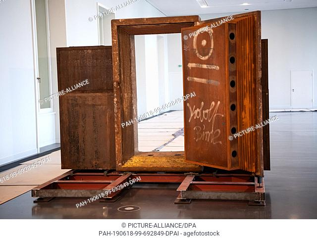 18 June 2019, Berlin: The door of the legendary techno club Tresor is the first exhibit to move into the Berlin exhibition at the Humboldt Forum
