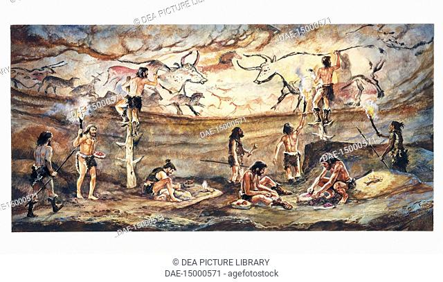 Prehistory. France - Limousin - Lascaux Cave. Reconstructed cave painting of bulls. Color illustration