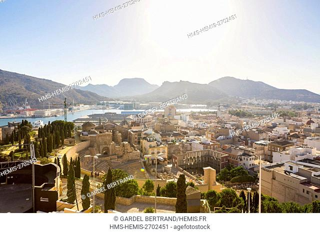 Spain, Murcia Community, Cartagena, general view of the Roman theater