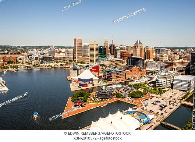 Maryland, Baltimore - Cityscape of the city of Baltimore and the harbor, popular Maryland attraction