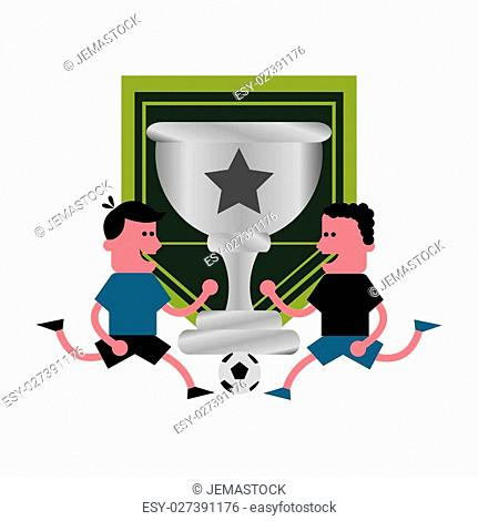 trophy cup with soccer football related icons image vector illustration design