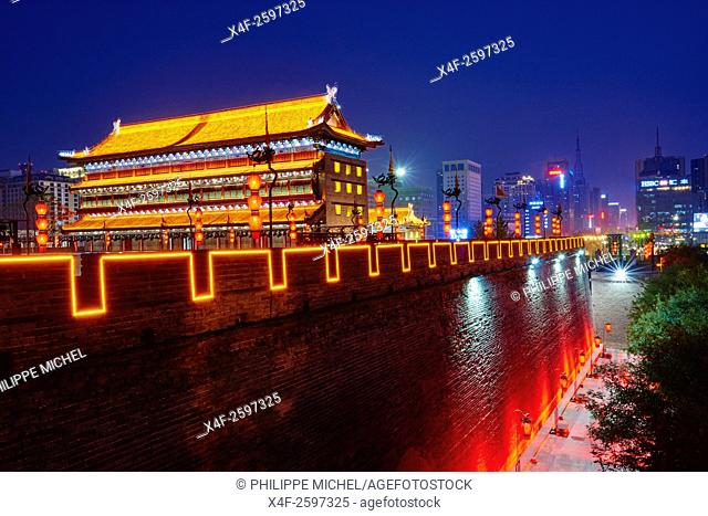China, Shaanxi province, Xian, City wall and watch tower