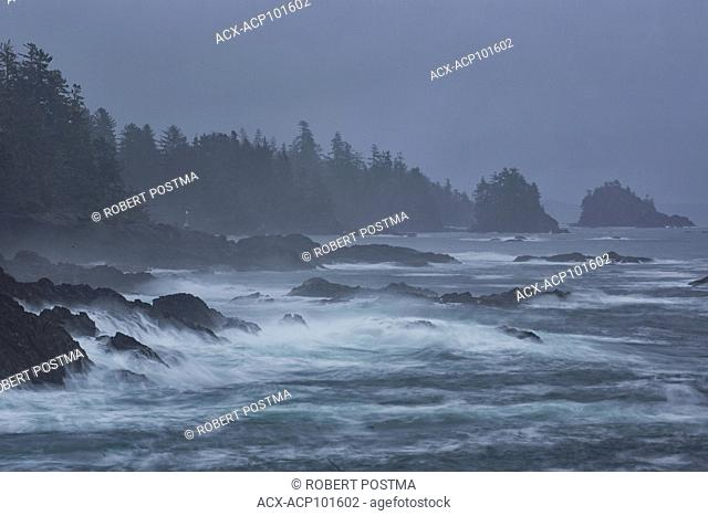 View of the Pacific Ocean along the Wild Pacific Trail, Ucluelet, British Columbia