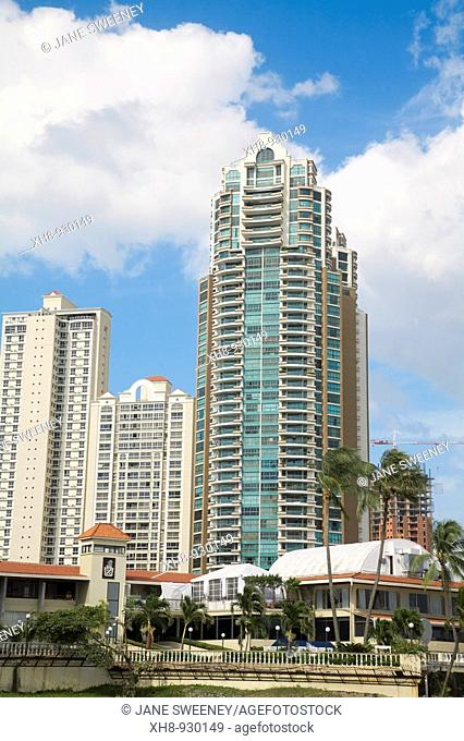 Plaza Pacifica shopping center and appartment buildings, Punta Pacifica, Panama City, Panama