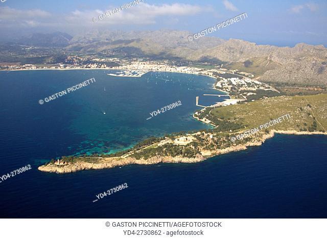 Aerial view of Punta de la Avanzada and Pollença Bay at the botton, Mallorca, Balearic Island, Spain