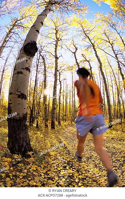 a young woman trail running near the base of Yamnuska mountain in the Canadian Rocky Mountains, Exshaw, Alberta, Canada