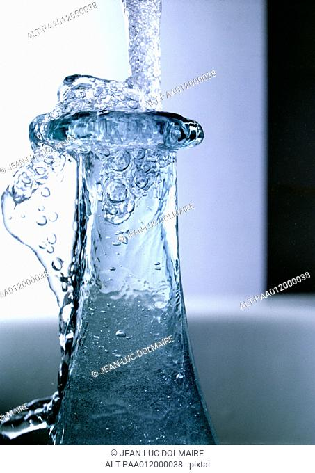 Frozen water and bottle mouth