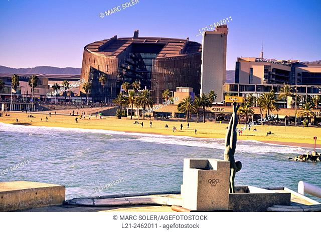 Biomedical research building by Manel Brullet and Albert Pineda. Barceloneta beach. Barcelona. Catalonia, Spain