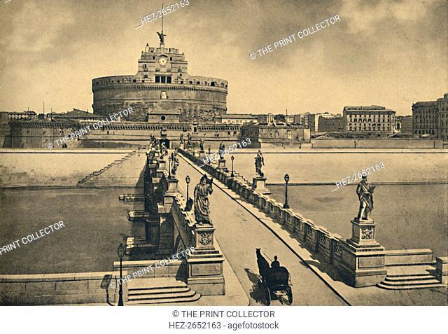 'Roma - Bridge and Castle of St. Angelo', 1910. Ponte Sant'Angelo, once the Aelian Bridge or Pons Aelius, meaning the Bridge of Hadrian