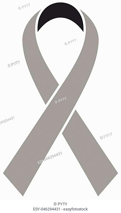 Breast Cancer Awareness Ribbon icon. Symbol of women healthcare. Simple flat grey vector illustration
