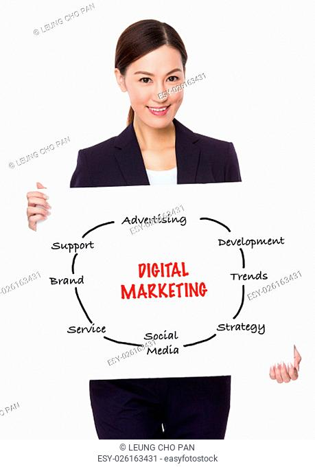 Businesswoman hold with a board showing digital marketing concept