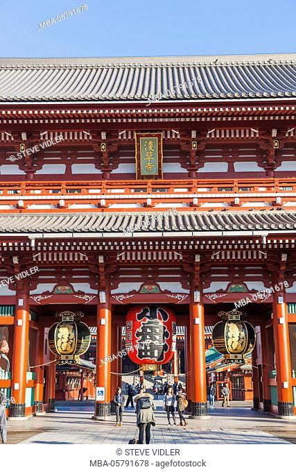 Japan, Honshu, Tokyo, Asakusa, Sensoji Temple aka Asakusa Kannon Temple, Temple Entrance Gate