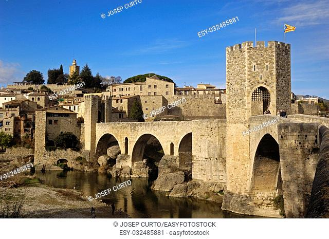 medieval bridge and village of Besalú in La Garrotxa, Girona, Spain