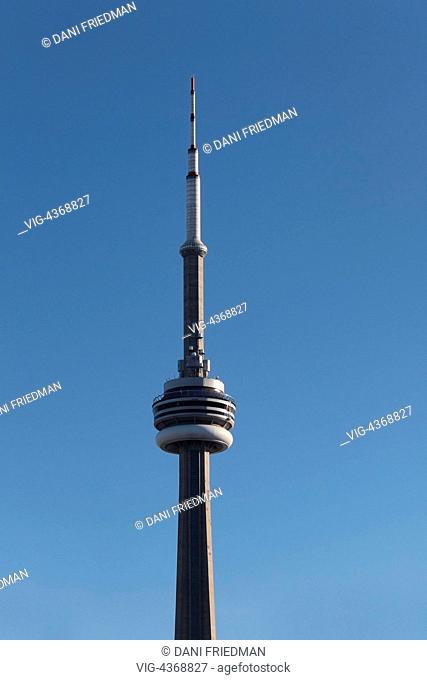 The CN Tower in downtown Toronto, Ontario, Canada. The CN Tower measures 553.33 meters high (1,815.4 ft) and is a popular tourist attraction