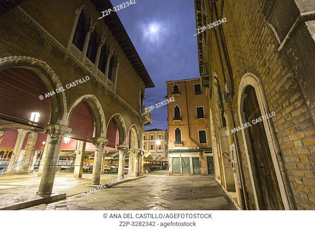 Venice Veneto Italy on January 19, 2019: Twilight in Grand Canal. Rialto market