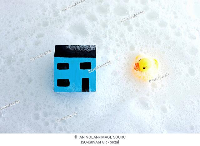 Model house and rubber duck in bath