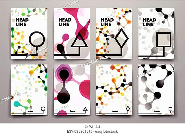 Set of brochure, poster templates in DNA molecule style. Beautiful design