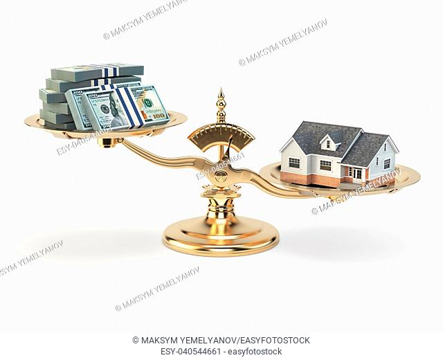Scales with house and money. Real estate investments concept. 3d illustration