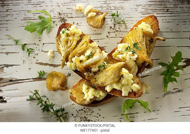 Yellow Oyster mushrooms sauteed in butter and served with scambled egg on sour dough toast with wild rocket