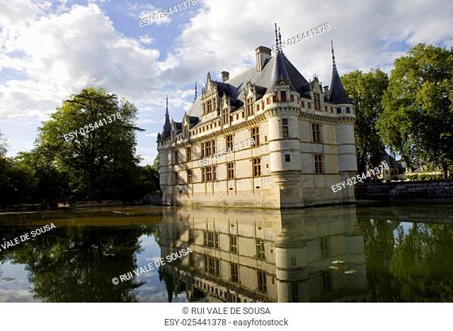 chateau azay-le-rideau in loire valley, france
