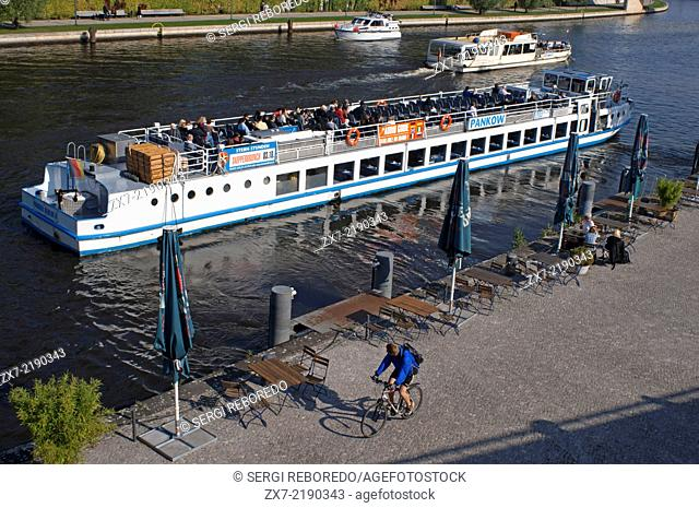 Boat excursion in the Spree river, Berlin. Spree, Landwehrkanal and Havel – Berlin is crossed by a multitude of rivers and canals